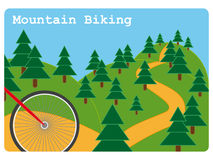 Mountain biking illustration. Mountain biking sport illustration with front red wheel of a bicycle about to go down a steep hill in a park Royalty Free Stock Image