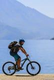Mountain biking on Lake Garda, Sentiero della Ponale, Riva del G Royalty Free Stock Photos