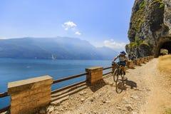Mountain biking on Lake Garda, Sentiero della Ponale, Riva del G Royalty Free Stock Images