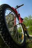 Mountain Biking Low Angle. A low angle shot of an un-branded mountain bike with front shocks and seat-post shocks sitting along a dirt trail Royalty Free Stock Photography