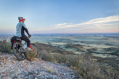 Mountain biking in prairies Stock Photo