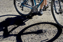 Mountain Biking Shadow of Rider and Bike Royalty Free Stock Photo