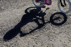 Mountain Biking Shadow of Rider and Bike Stock Photography