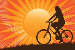 Mountain Biking Silhouette Royalty Free Stock Images