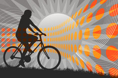 Mountain Biking Silhouette Stock Photo