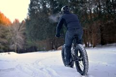 Mountain Biking in the Snow Royalty Free Stock Photography