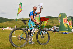 Mountain biking winner of the competition Royalty Free Stock Images