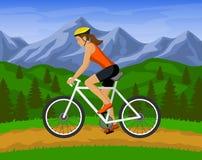 Mountain Biking Woman. Woman riding mountain bike   illustration. outdoor activity. woman cyclist mountain biking outdoor Royalty Free Stock Image