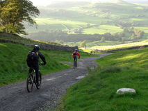 Mountain Biking in the Yorkshi. Male and Female mountain biking in the UK. Sunlit fields ahead Stock Images
