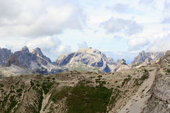 Mountain Birkenkofel panorama and footpath at Bullelejoch in Sexten Dolomites, South Tyrol Royalty Free Stock Image