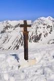 Mountain blank signpost in winter Stock Photos