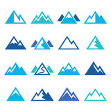 Mountain  blue icons set Royalty Free Stock Images
