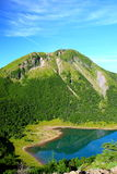 Mountain and blue pond Royalty Free Stock Photo