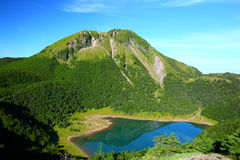 Mountain and blue pond Royalty Free Stock Photography