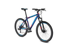Mountain blue red bike royalty free stock images