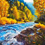 Mountain blue river running away into golden autumn - Original oil painting on canvas. Beautiful  landscape. Modern impressionism Stock Photo