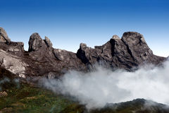 Mountain with blue sky. Mount Kinabalu is the highest mountain in South East Asia stock images