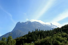 Mountain with blue sky. Mount Kinabalu- the highest mountain in south east asia royalty free stock image