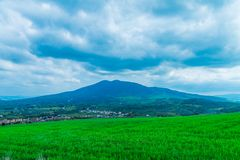 mountain on a blue sky background, a dormant volcano in the town of Melfi, in Italy, Mountain range, panoramic landscape stock images