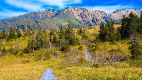 Mountain with blue sky in Japan Alpine route Royalty Free Stock Photo