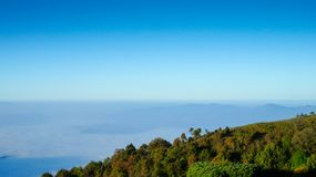 Mountain and blue sky. Landscape view on Doi Inthanon in the morning Royalty Free Stock Images