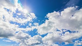 Mountain and blue sky and very nice clouds. Royalty Free Stock Photo