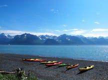 Mountain boat lake Stock Photos