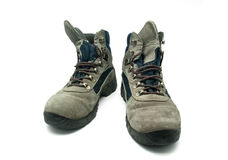 Mountain boot. Worn over white background Stock Image