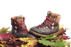 Mountain boot on an autumn leaves carpet. Mountain boots on an autumn leaves carpet with white background Stock Photos