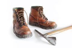 Mountain boots and Ice Axe Royalty Free Stock Photography