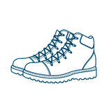 Mountain boots on a white background. On the image presented Mountain boots on a white background Royalty Free Stock Image