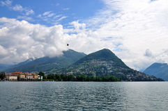 Mountain Bre on Lugano lake, Switzerland Royalty Free Stock Images