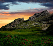 Mountain Brenta - Dolomites Italy. View of the mountain Brenta in the sunset-Dolomites Italy Royalty Free Stock Image