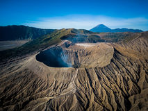 Mountain Bromo active volcano crater in East Jawa, Indonesia. Top view from drone fly.  Stock Photo