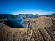 Mountain Bromo active volcano crater in East Jawa, Indonesia. Top view from drone fly Royalty Free Stock Image