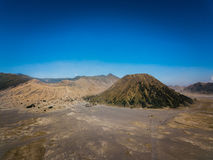 Mountain Bromo active volcano crater in East Jawa, Indonesia. Top view from drone fly.  Stock Images