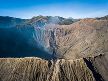 Mountain Bromo active volcano crater in East Jawa, Indonesia. Top view from drone fly.  Royalty Free Stock Photos