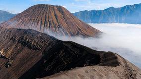 Mountain Bromo. On Sunrinse covered in sulfur, Indonesia Royalty Free Stock Photography