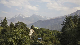 Mountain and building in Almaty. Kazakhstan Royalty Free Stock Image