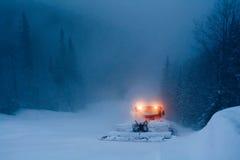 Mountain Bulldozer On Snow Slope Royalty Free Stock Image