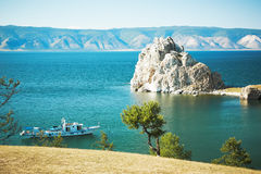 Mountain Burhan lake Baikal Royalty Free Stock Photo