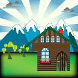 Mountain cabin. Abstract colorful illustration with clouds, trees and mountain cabin Royalty Free Stock Images