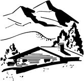 Mountain Cabin stock illustration