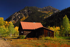 Mountain Cabin. Mountain log cabin and aspen leaves in full color Royalty Free Stock Image