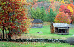 Mountain Cabin in Autumn Stock Photography