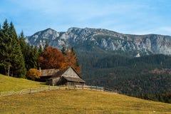 Mountain cabin in Carpathian mountains ,autumn in Romania stock photos