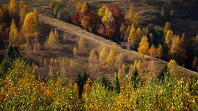 Mountain cabin in Carpathian mountains ,country side autumn in Romania royalty free stock photography