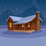 Mountain Cabin. Cartoon illustration of the cabin in mountain with winter landscape royalty free illustration