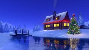 Mountain cabin and christmas tree at winter night Royalty Free Stock Photos