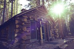Mountain Cabin. Cozy Wooden Mountain Cabin - Aged Log Cabin. Architecture Photo Collection Royalty Free Stock Image